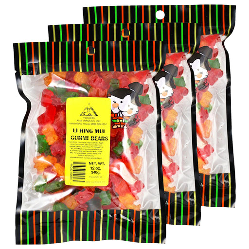 Li Hing Mui Gummy Bears 12 oz (Pack of 3)