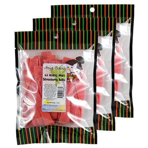 Li Hing Mui Strawberry Belts - 10 oz (Pack of 3)