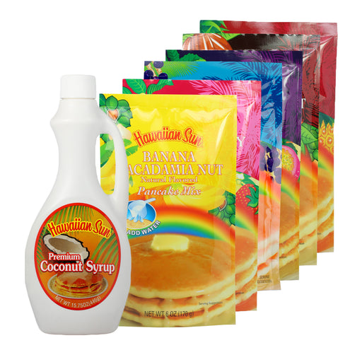 Hawaiian Sun Pancake Gift Set with six bags of pancake mix and one coconut syrup