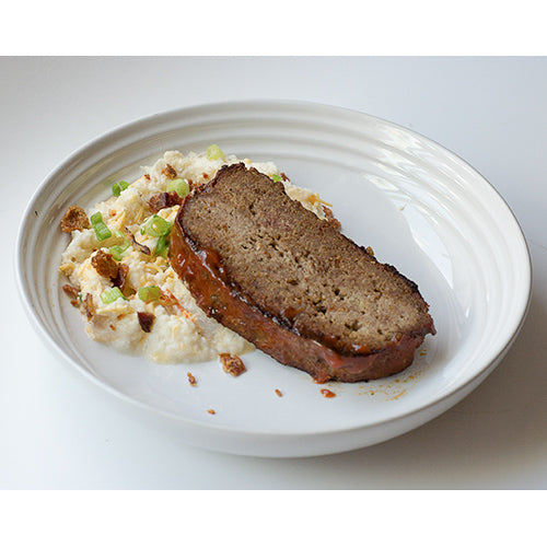Meatloaf with Loaded Cauliflower Mash (Keto Friendly)