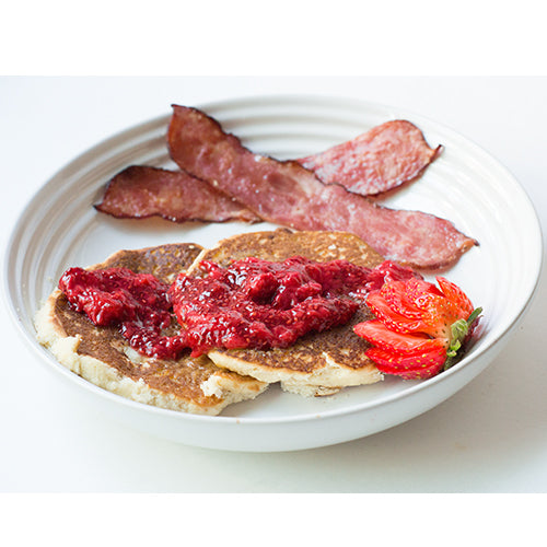 Whole Wheat Pancakes + Pumpkin Butter + Turkey Bacon + Chia Seed Jam