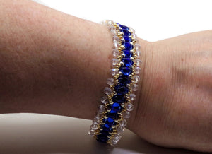 "Sapphire Blue & Clear Crystal Two Tone Gold & Silver Glass Beaded Gold Filled 7.25"" Bracelet"