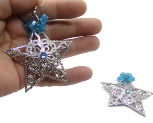 Large Stars Silver Filigree w/ Aquamarine Blue Crystals Dangle Beads Earrings, March Birthstone