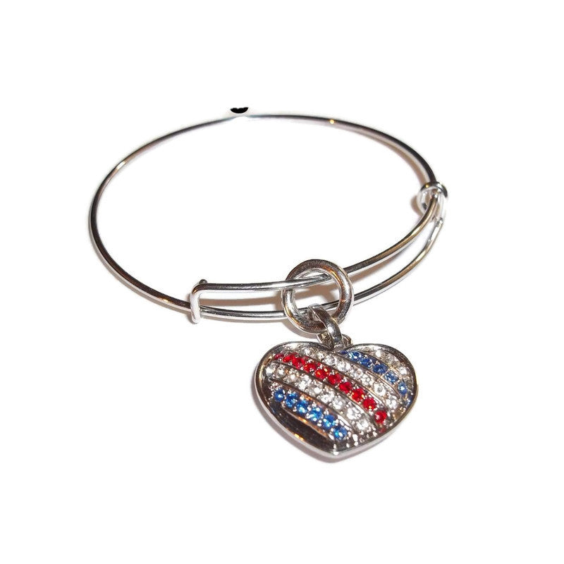 Heart Red White & Blue Crystal Encrusted Patriotic  Hand Crafted Adjustable Charm Bracelet