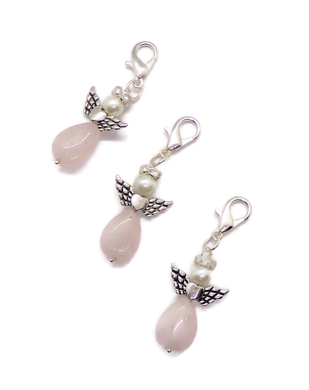 Rose Quartz and White Glass Pearl Silver Angel Zipper Pull, Purse Charm, Religious Charm, Gift for Her, Easter Gift