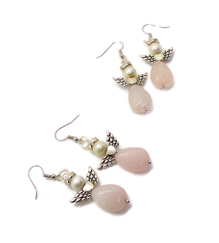 Rose Quartz & White Glass Pearl Beaded Angel Earrings