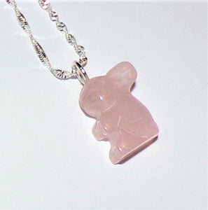 "Rose Quartz Hand Carved Bunny Stamped .925 Sterling Silver 20"" Rope Chain, Easter Necklace, Gift for Her"