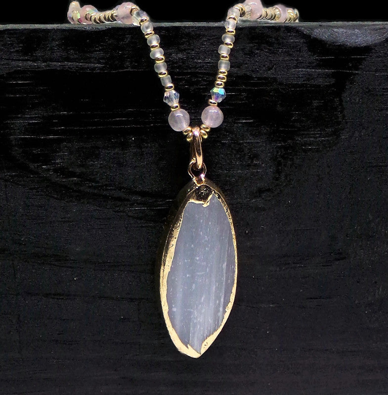 "Natural White Selenite Crystal Pendant on Rose Quartz & Swarovski Clear AB Crystal Gold Glass 22""  Beaded Necklace"
