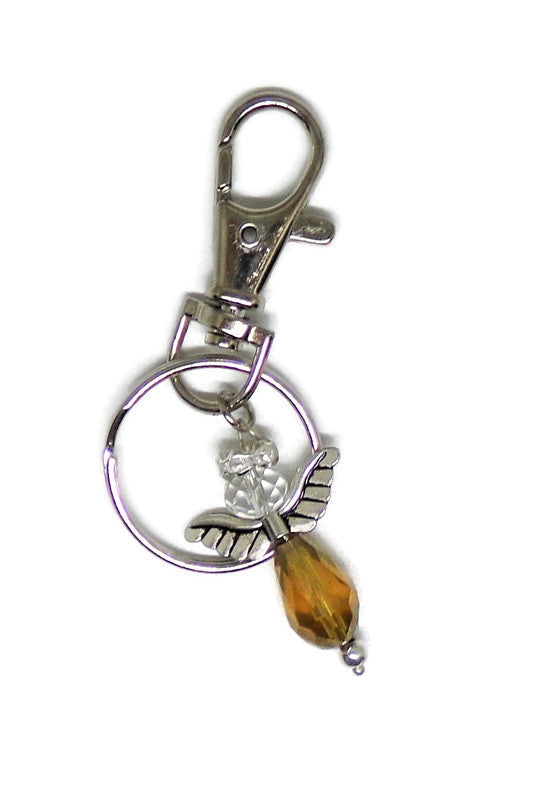 Guardian Angel Amber and Clear Swarovski Crystal Keychain