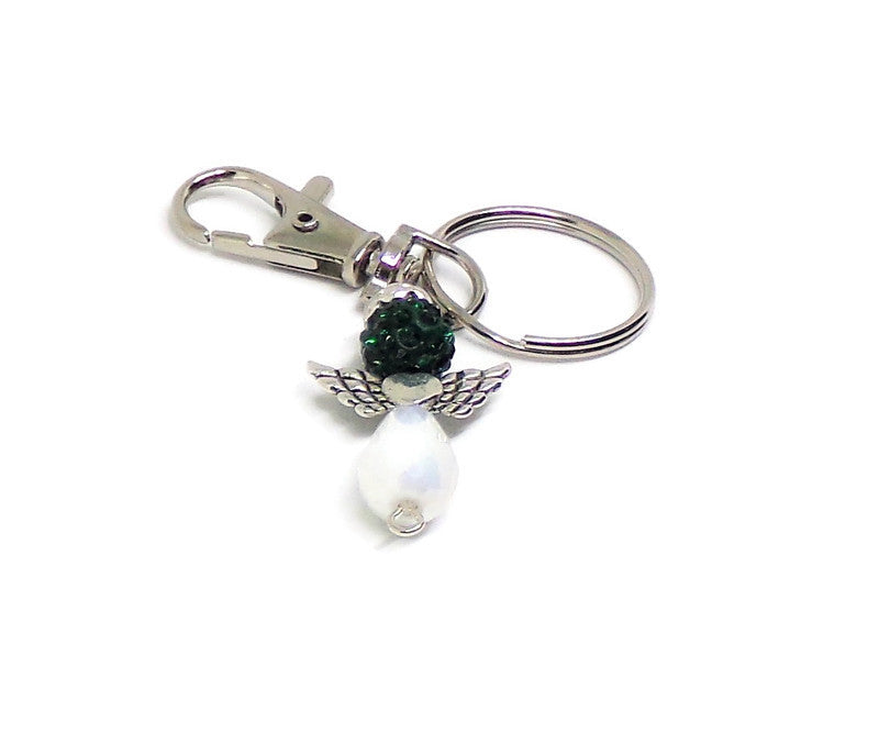 GUARDIAN ANGEL DEEP GREEN DISCO BALL AND WHITE AB SILVER TONE KEYCHAIN