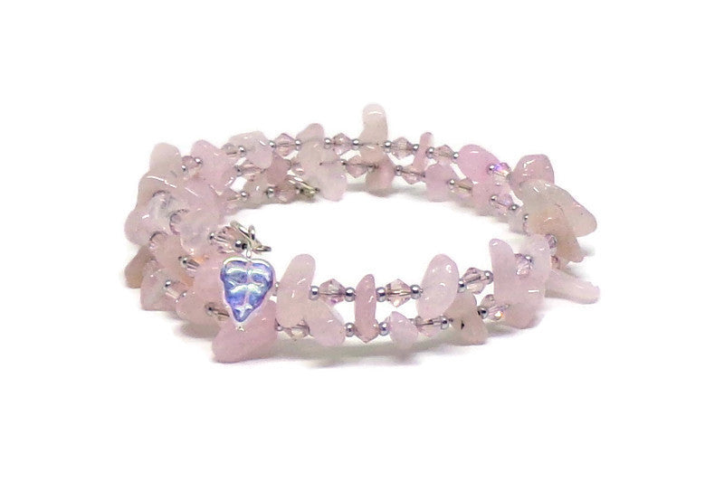 Plus Size Rose Quartz & Pale Pink AB Crystal Silver Glass Beaded Bracelet w/ White AB Glass Leaf Dangles  (L-XXL)