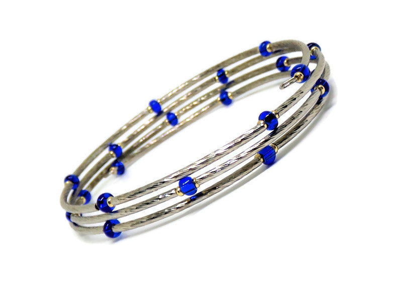 Gypsy Bangles* Stackables* Silver & Gold 2 Tone Deep Blue Glass Accented Bracelet. L-XXL