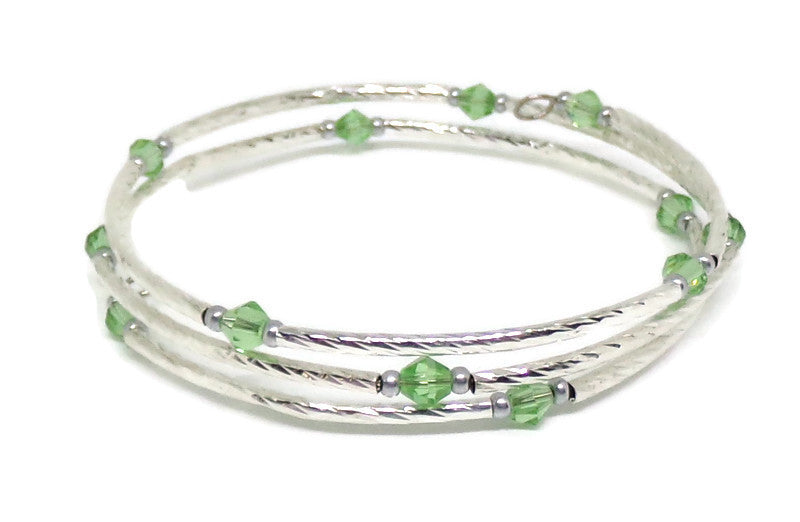 Gypsy Bangles* Pale Green Crystal Silver Memory Wire Bracelet (XS - S), Gift for Her, Summer Bangles, Stackables Bracelet, Gypsy Bangles* Layering Bracelet*