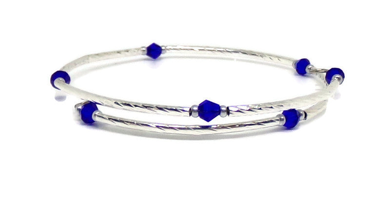 Gypsy Bangles Dainty Diva Sapphire Blue Crystal Silver Twist Wrap Bracelet, Gift for Her, Crystal Bracelet,