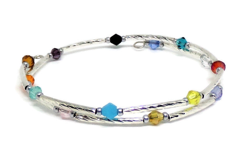 Gypsy Bangles* Multi Color Crystal Silver Twist Stackables Wrap Bracelet ( XS - S)