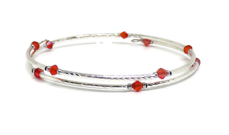 Gypsy Bangles* Plus Size Red Crystal Silver Twist Wrap Bangle Bracelet, Gift for Her, Stackables* Bracelet, Layering Bracelet ( L-XXL), Birthstone Bracelet