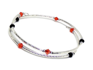 Gypsy Bangles* Black and Red Silver Twist Stackables Wrap Bracelet (XS - S), Adjustable Bracelet, Dainty Diva