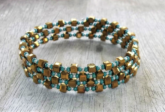 Plus Size Elegance Statement Bronze Cube Glass & Teal Seed Bead  75mm  Wrap Bracelet, XXL Bracelet, Adjustable Bracelet, Gift For Her