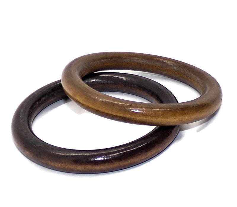 Vintage Natural Stained One Medium Brown One Black Brown  Wooden Bangle Duo S-M