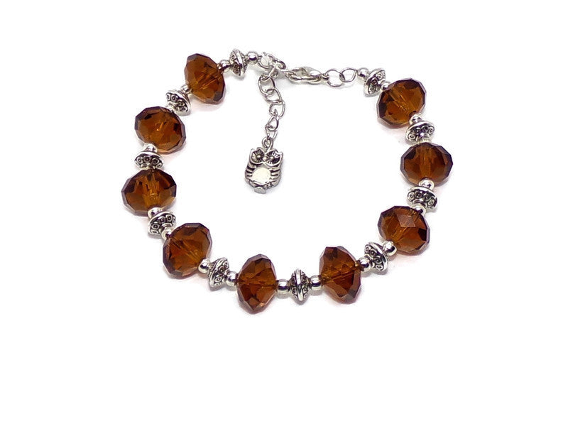 Deep Amber Faceted Crystal Clasp Bracelet w/ Owl Charm  M-XL