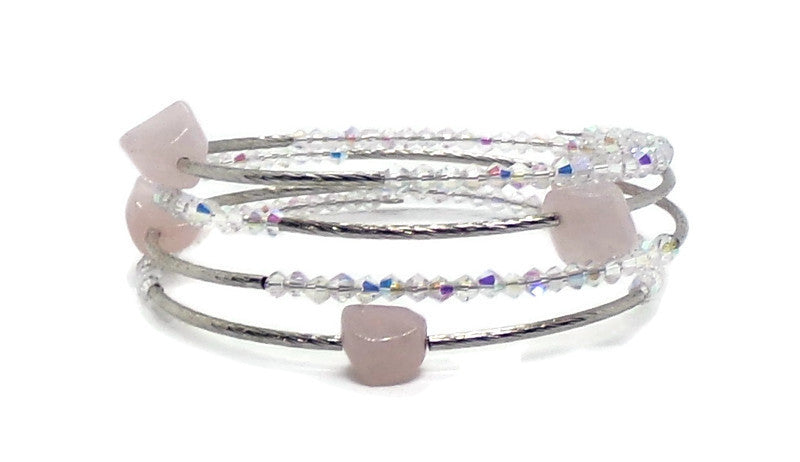 Rose Quartz Nugget & Clear AB Swarovski Crystal Plus Size Silver Twist Wrap Bracelet (L-XXL), Gift for Her, Adjustable Bracelet, Stone Bracelet, Women's Gift