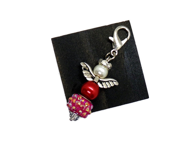 Guardian Angel Bright Red and Hot Pink Crystal Beaded Zipper Pull
