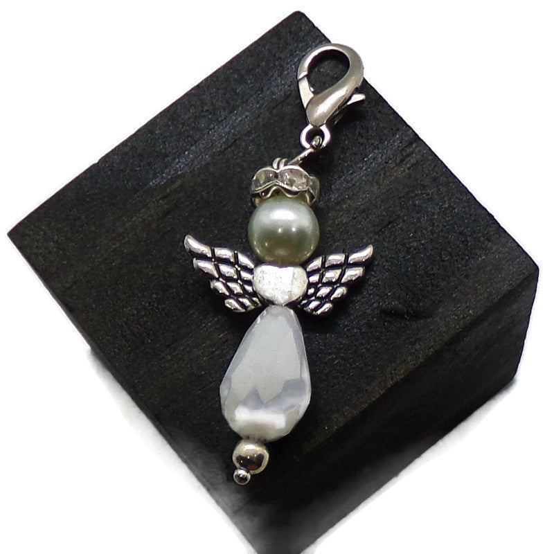 Guardian Angel White AB Crystal and Glass Pearl Zipper Pull