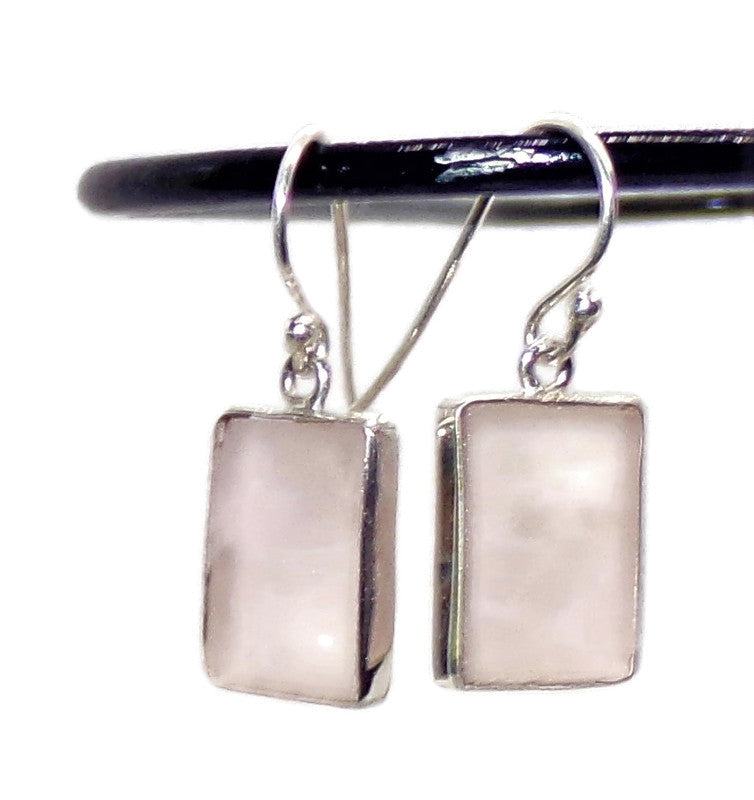 Rose Quartz Artisan Minimalist Sterling Silver Wrapped Rectangles Earrings