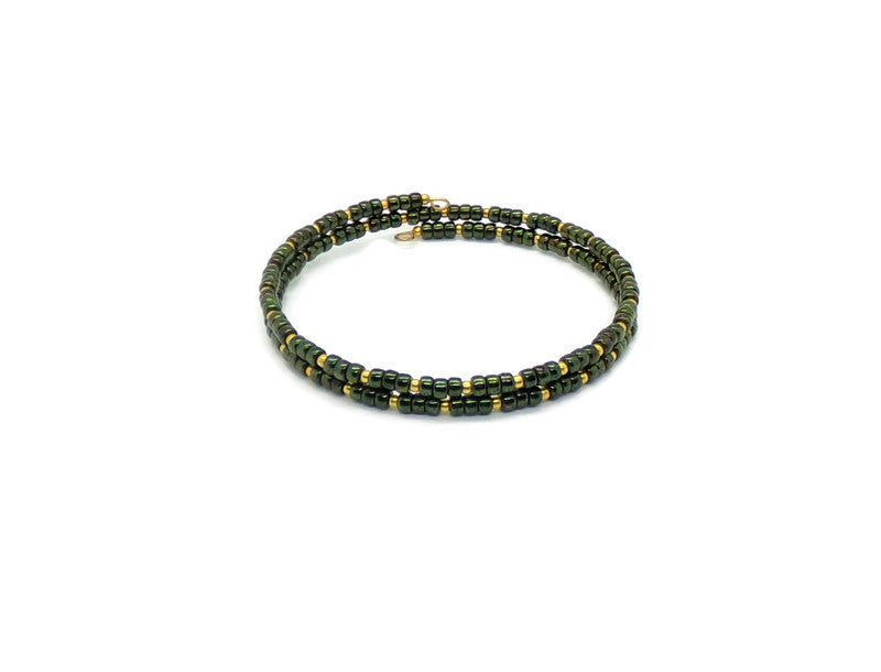 Deep Green & Gold Glass Artisan Crafted Stackable Wrap Bracelet (S)