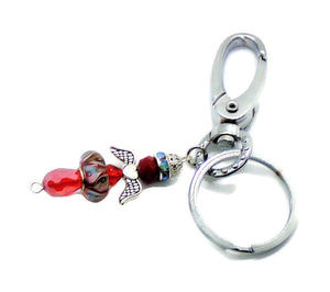 Guardian Angel Red Crystal and Millifori Glass Silver Alloy Accents and Stainless Steel Keychain