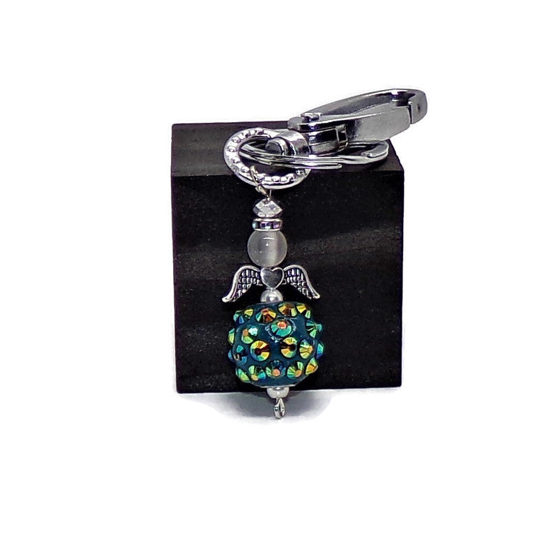 "Guardian Angel Teal Crystal Encrusted Skirt & Clear Cat's Eye Head with Crystal Halo 1.5"" Swivel Clip KeyChain, Gift for Mom,Gift for Her"