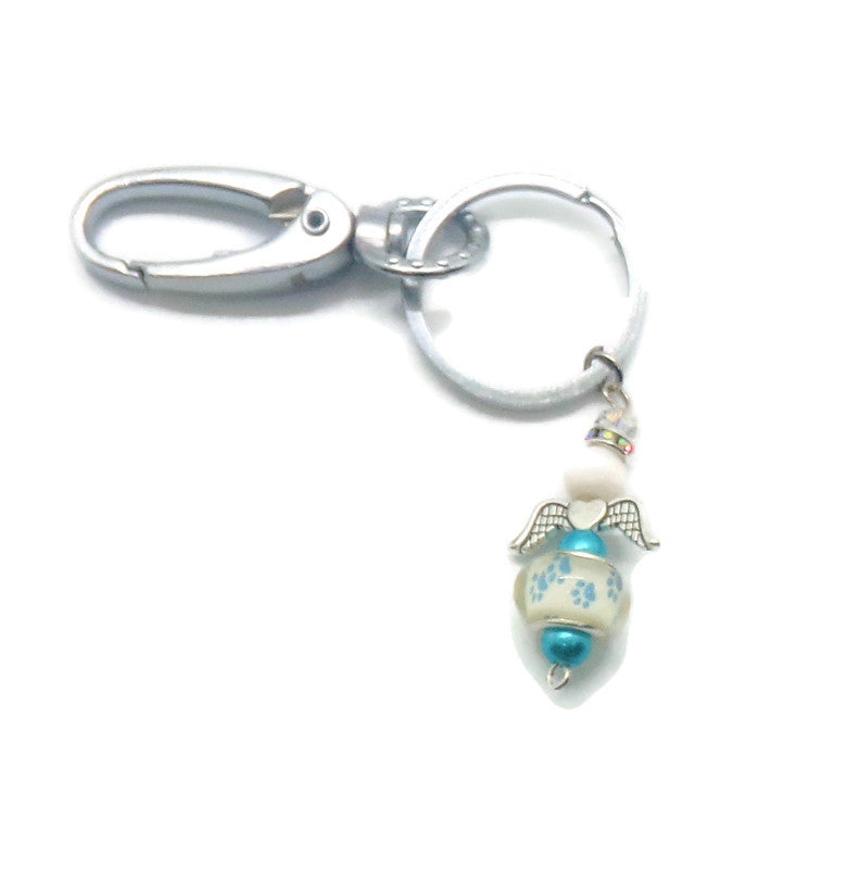 Pet Paw Prints Guardian Angel Light Blue Stainless Steel Keychain