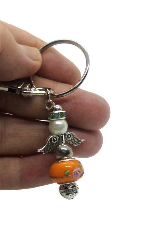 Guardian Angel Orange Floral Blown Glass and White Glass Pearl Keychain