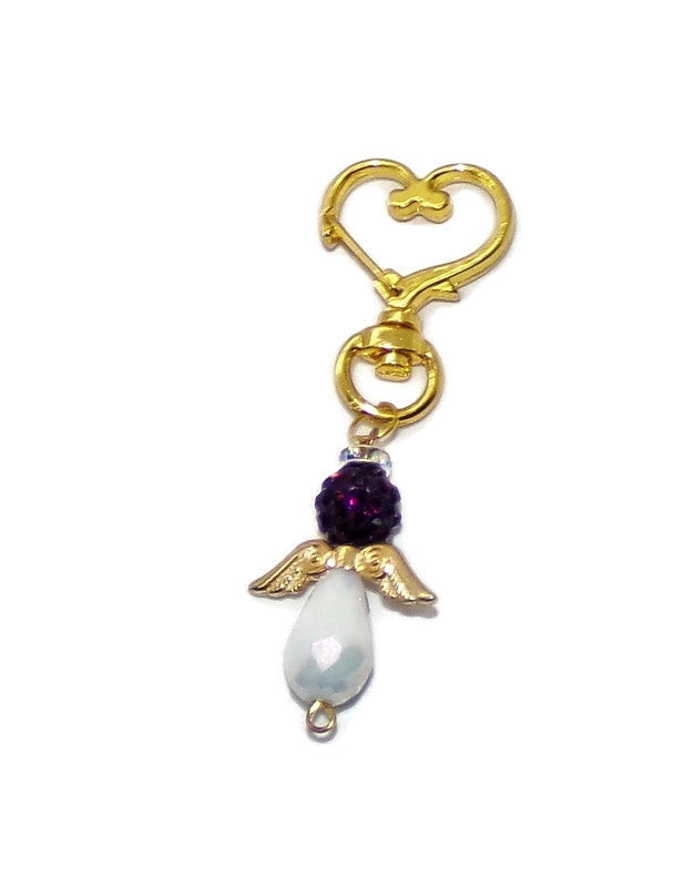 Guardian Angel Blackberry Purple Crystal Encrusted & White Swarovski Crystal Gold Tone Heart Purse Charm Clip-on