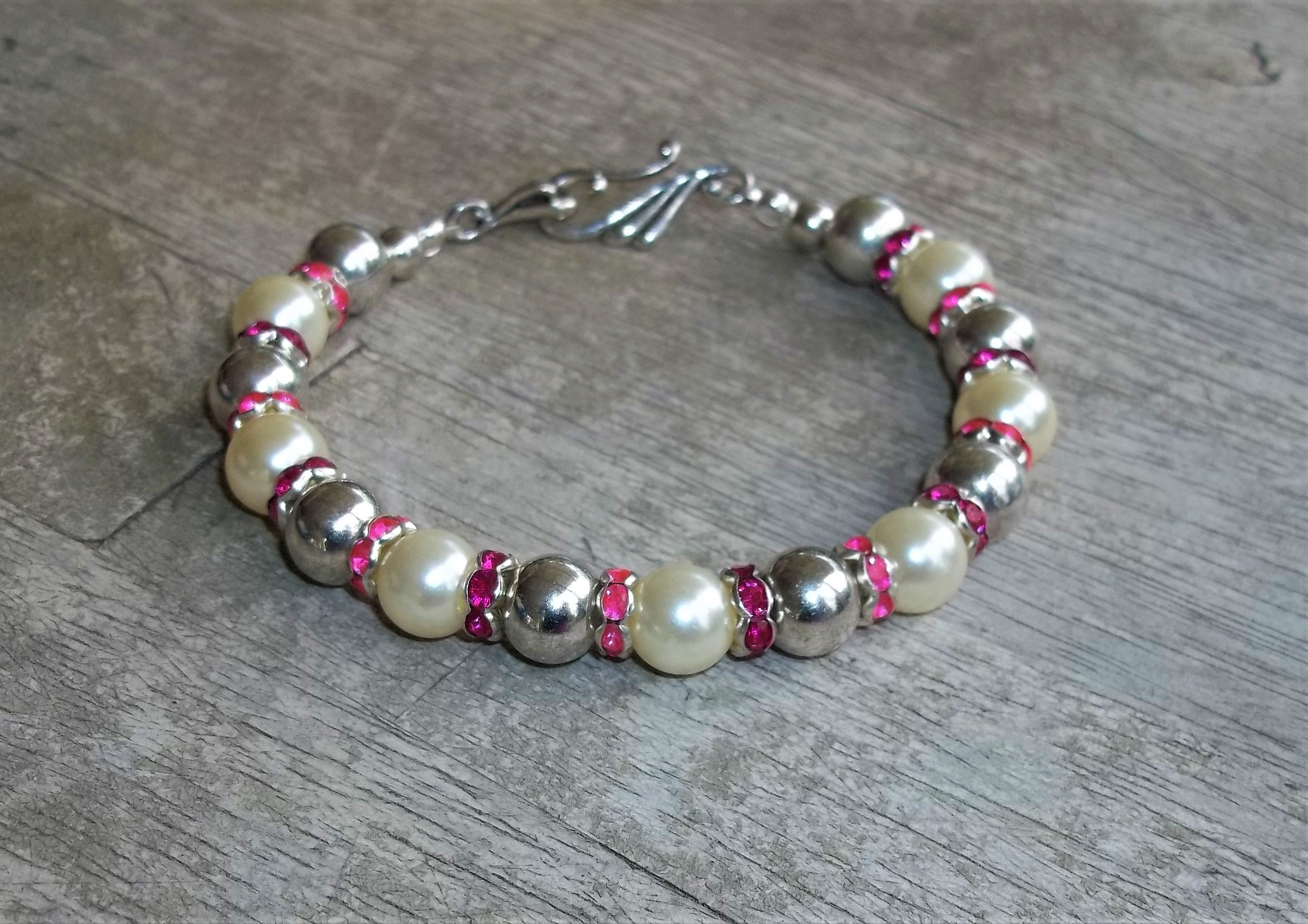 "Plus Size Elegance Hot Pink & Magenta Crystal Accented Pearl and Silver Beaded XXL Hook Clasp Bracelet, Gift for Mom, 9"" Plus Size Bracelet, Bridal Bracelet"