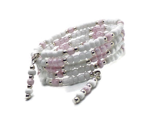 Wedding First Communion Confirmation White & Palest Pink Glass Beaded Artisan Crafted Wrap Bracelet