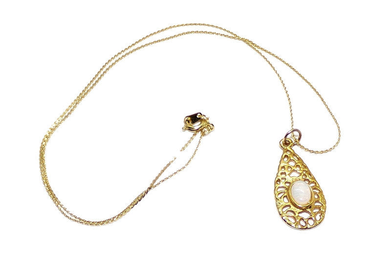 "Vintage Genuine White Fire Opal in ""Gold Nugget"" Style Gold Plated Teardrop Pendant & Snake Chain 17"""