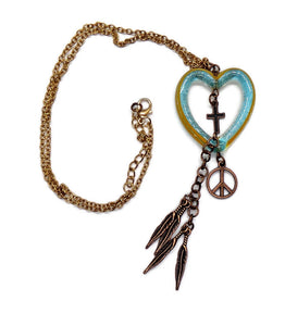 "Hand Blown Blue Bubble Glass w/Yellow Stripes  Boho Heart Pendant w/ Copper Cross, Peace Sign and Feathers Dangles Rose Gold Filled Chain 18"" - 20"""