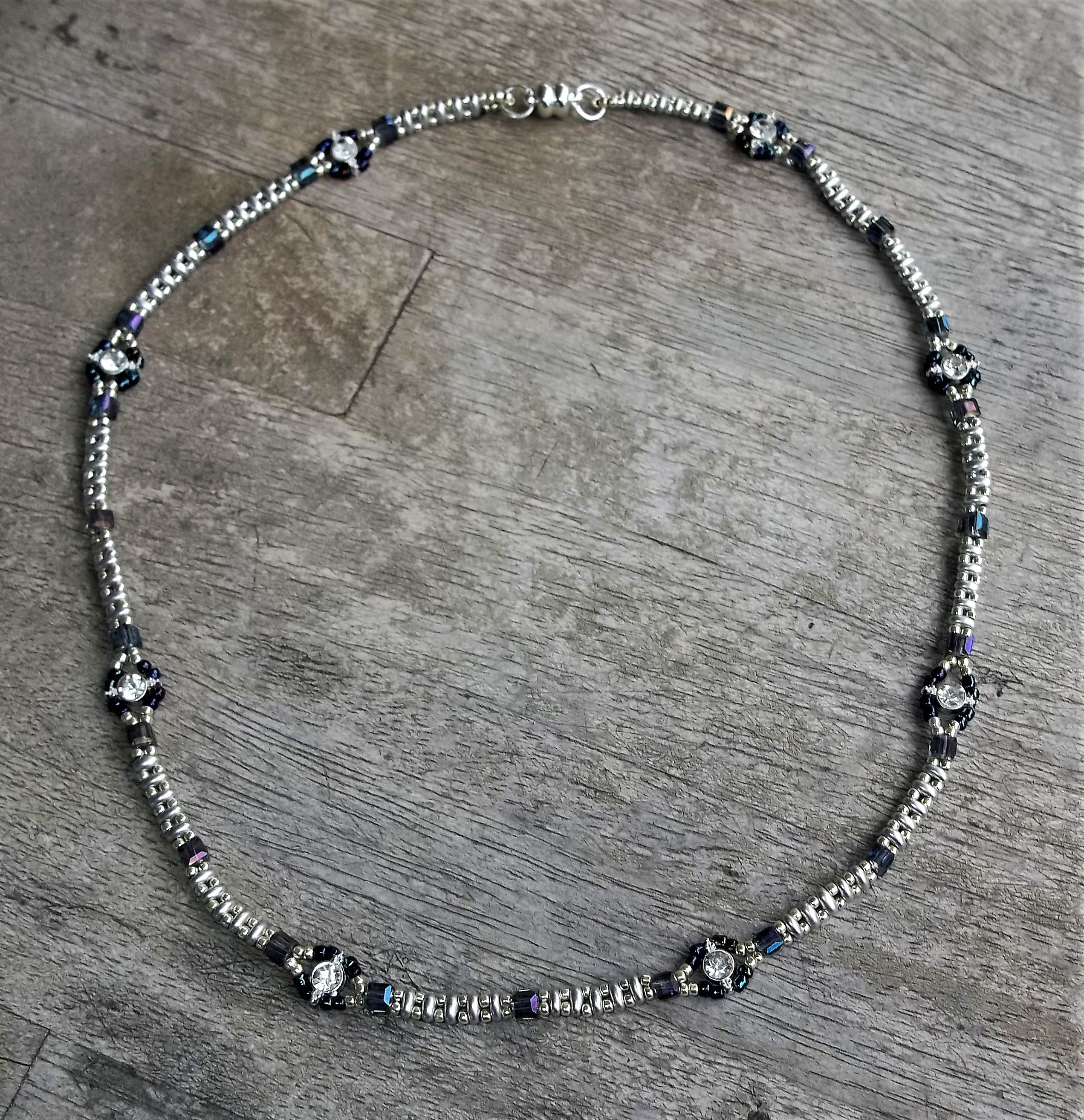 "Plus Size Elegance Beadwoven  Silver Superduo , Square Swarovski Crystal, and Silver Plated CZ Focal Beads 21"" Choker Necklace with Magnetic Clasp"