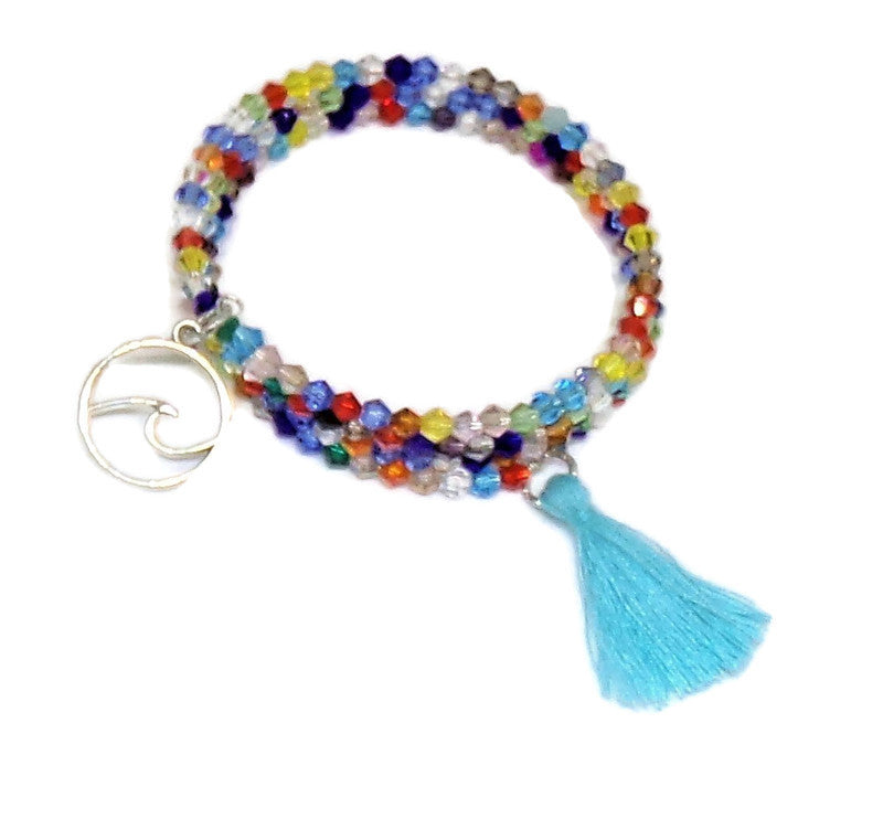 Multi Color Crystal Tassel Wrap Bracelet & Hoop Earrings Jewelry Set