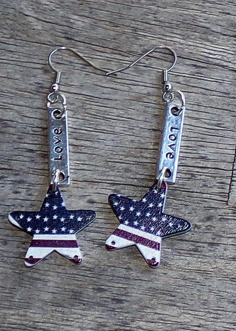 Love America~~~Red, White & Blue Wooden Star Silver Dangle Earrings