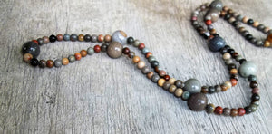"Unisex Picasso Jasper Stone 24"" Strand  Necklace, Multi Color Necklace, Boho Necklace, Gift for Her"