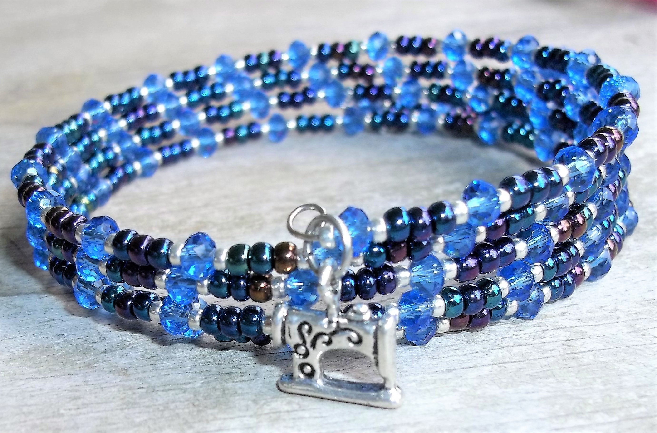 Plus Size Elegance Sewing Machine I Love to Sew Blue Crystal & Rainbow Glass Beaded Wrap Bracelet w/ Tassel,  Seamstress Bracelet, Quilter's Bracelet, Gift for Her