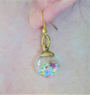 "Mixed Color Star Confetti Gold Tone 1"" Dangle Drop Earrings, Star Earrings, Gift for Her,  Party Earrings"