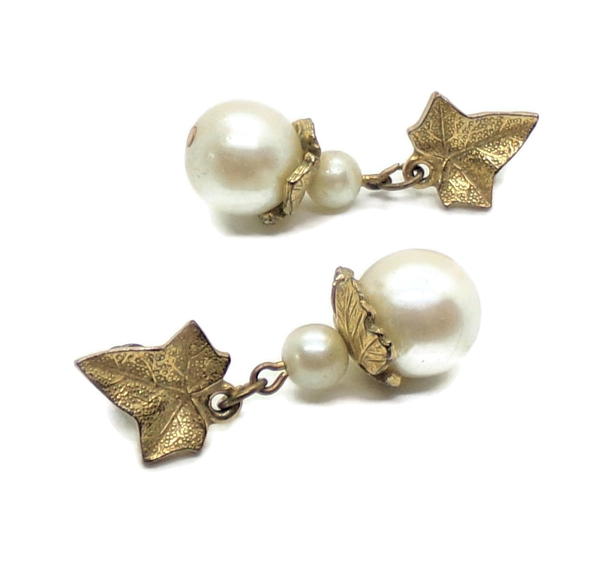 Vintage Bridal Formal Glass Off White Pearls & Leaves Gold Tone Dangle Post Back Earrings