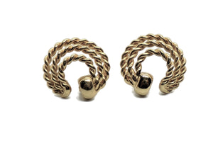 Vintage Triple Rope Twist Gold Tone Alloy Post Back Earrings
