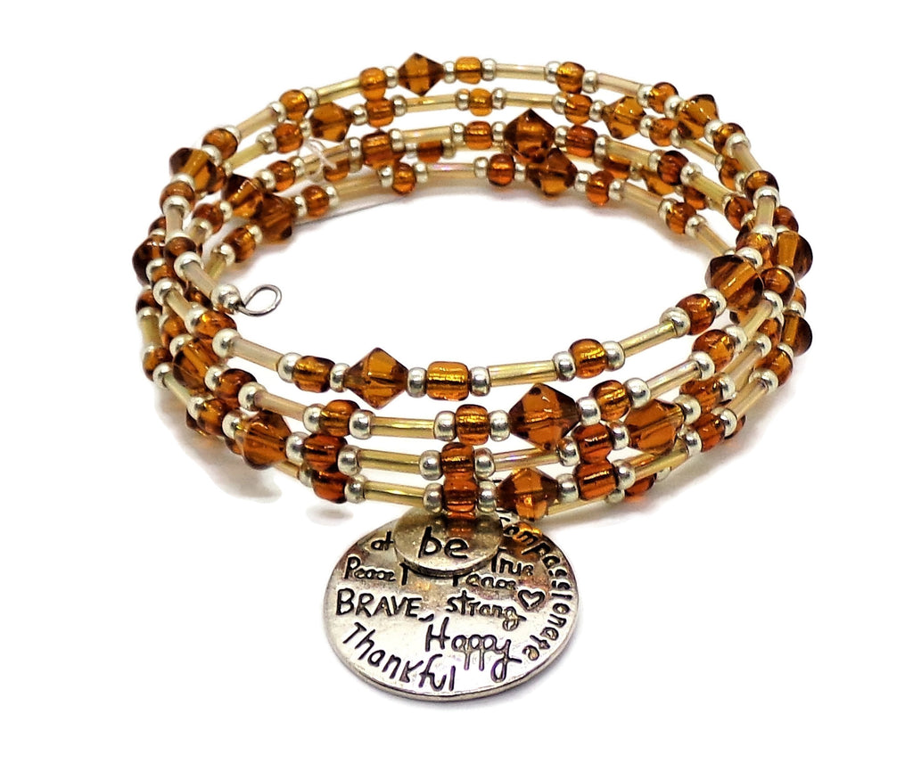 Plus Size Elegance INSPIRATIONAL SAYINGS Deep Amber Glass Gold Tube Beads & Silver Glass Bead Accents 5 wrap Statement Bracelet, Plus Size Bracelet