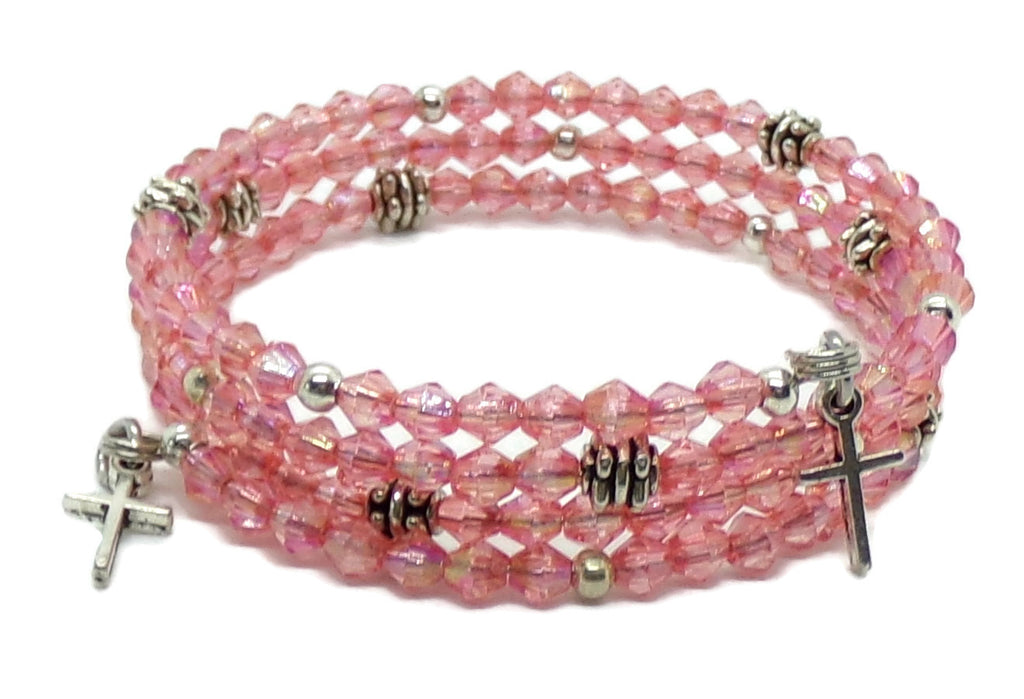 Crosses Cotton Candy Pink AB Acrylic Crystal Antique Silver Wrap Bracelet (XS - S)