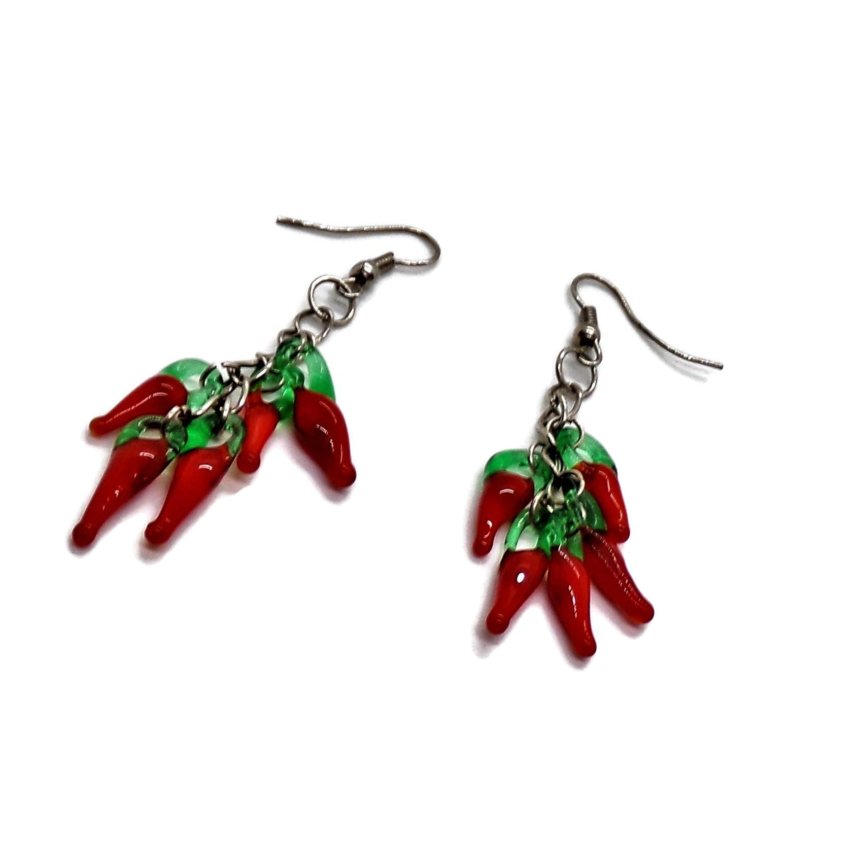 Jalepenos Blown Glass Artisan Crafted Silver Dangle Earrings