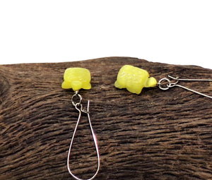 Yellow Cat's Eye Hand Carved Turtle Earrings on Long Kidney Ear Wires, Gift For Her,